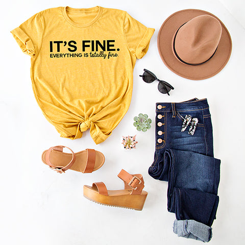 IT'S FINE ... GRAPHIC TEE | MUSTARD