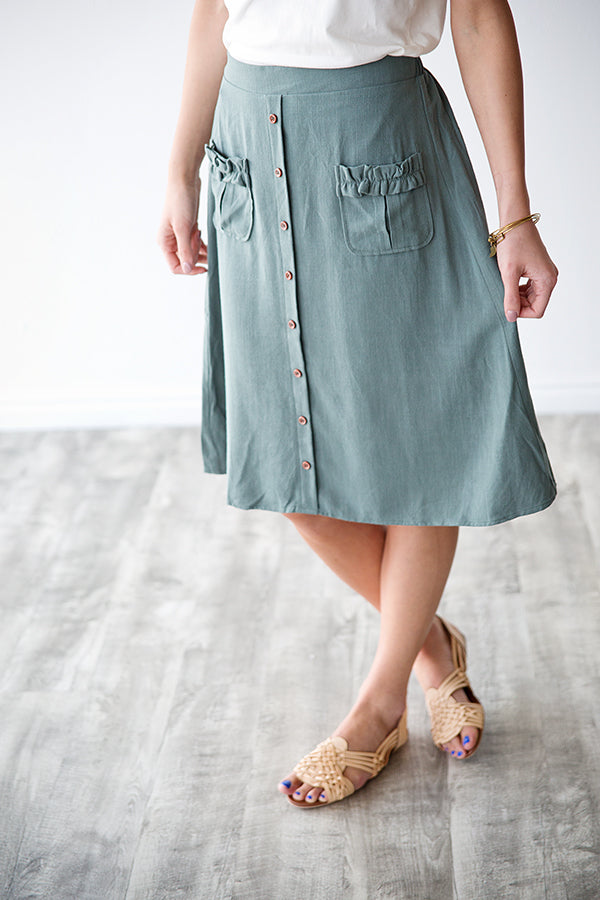 HOPE BUTTON FRONT SKIRT | DARK SAGE
