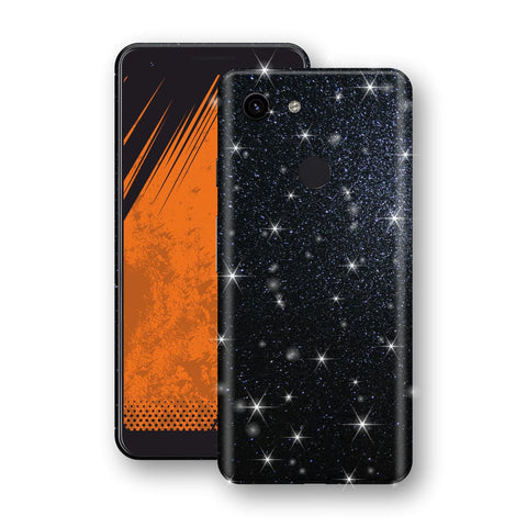 Google Pixel 3a Diamond Black Shimmering, Sparkling, Glitter Skin, Decal, Wrap, Protector, Cover by EasySkinz | EasySkinz.com