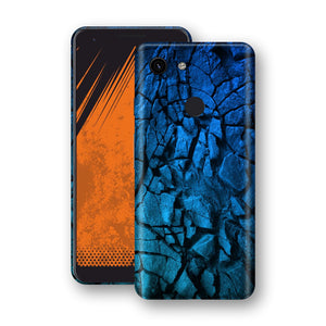 Google Pixel 3a Print Custom Signature Charcoal BLUE Abstract Skin Wrap Decal by EasySkinz