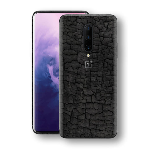 OnePlus 7 PRO Print Custom Signature Burnt Wood Black Charcoal Abstract Skin Wrap Decal by EasySkinz