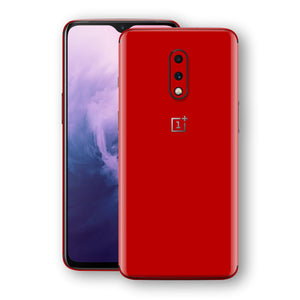 OnePlus 7 Deep Red Glossy Gloss Finish Skin, Decal, Wrap, Protector, Cover by EasySkinz | EasySkinz.com