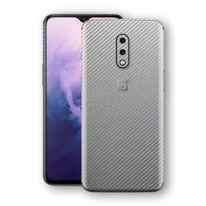 OnePlus 7 3D Textured Metallic Grey Carbon Fibre Fiber Skin, Decal, Wrap, Protector, Cover by EasySkinz | EasySkinz.com