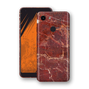 Google Pixel 3a Print Custom Signature Marble RED Skin Wrap Decal by EasySkinz - Design 2