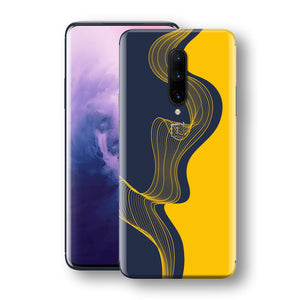 OnePlus 7 PRO Print Custom Signature Navy Yellow Abstract Waves Skin Wrap Decal by EasySkinz