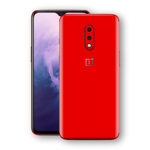 OnePlus 7 Bright Red Glossy Gloss Finish Skin, Decal, Wrap, Protector, Cover by EasySkinz | EasySkinz.com