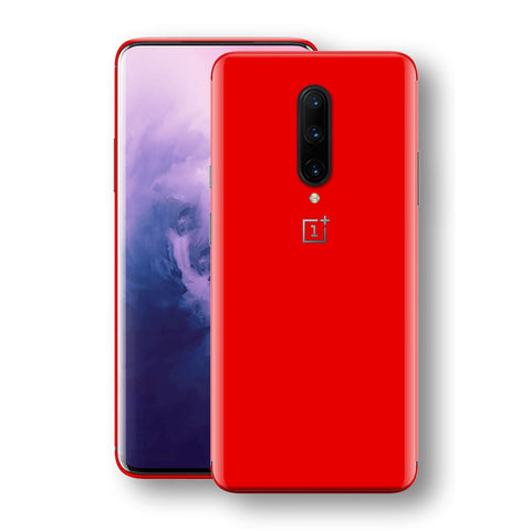 OnePlus 7 PRO Bright Red Glossy Gloss Finish Skin, Decal, Wrap, Protector, Cover by EasySkinz | EasySkinz.com