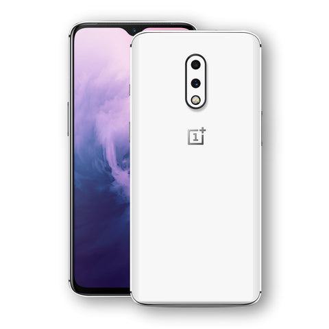 OnePlus 7 White Glossy Gloss Finish Skin, Decal, Wrap, Protector, Cover by EasySkinz | EasySkinz.com