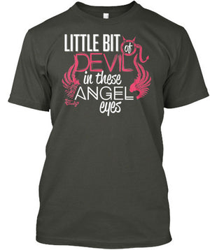 Little Bit of Devil in These Angel Eyes T-Shirt Charcoal Grey / Small, T-Shirts - Cute n' Country, Cute n' Country  - 2
