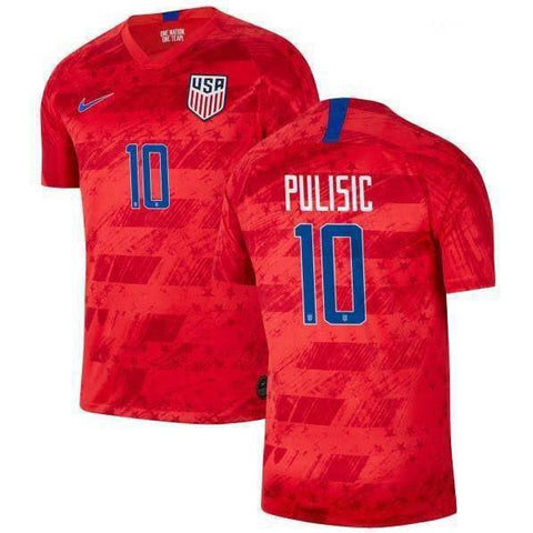 2019 Gold Cup USA Pulisic #10 Nike Away Red Soccer Jersey
