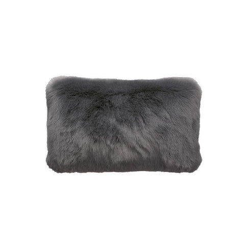 Plain Faux Fur Rectangular Charcoal | Cushion