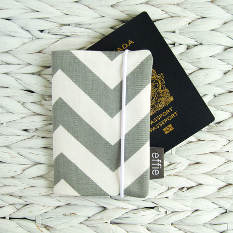 Grey Chevron Passport Cover