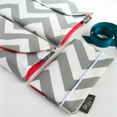 Travel Gift Set: Makeup & Jewelry Organizers + Passport Cover in Grey Chevron Print with Coral Lining