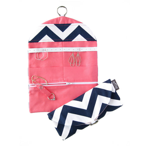 Travel Jewelry Case - Navy and White Chevron with your choice of lining colors