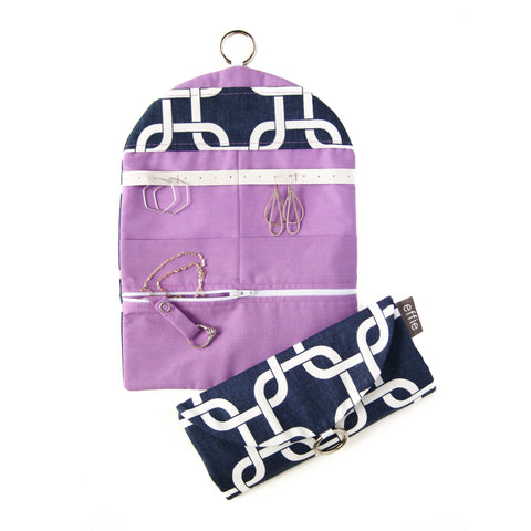 Travel Jewelry Case - Modern Links in Navy and White with Radiant Orchid Purple