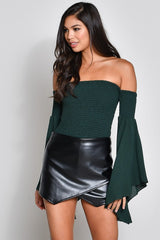 Casual Black Faux Leather Skort