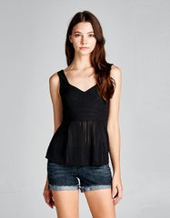 Textured Flare Sweetheart Black Top
