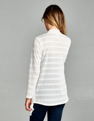 Textured Knit Draped White Cardigan