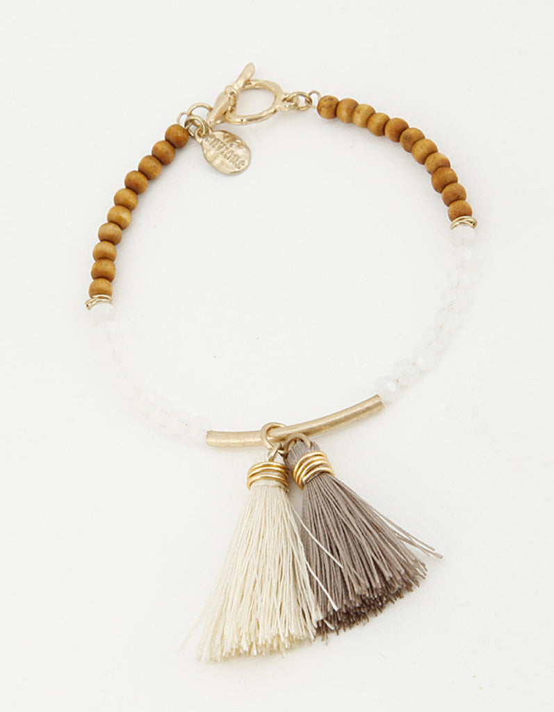 Wood and Bead Bracelet with Tassel Charm
