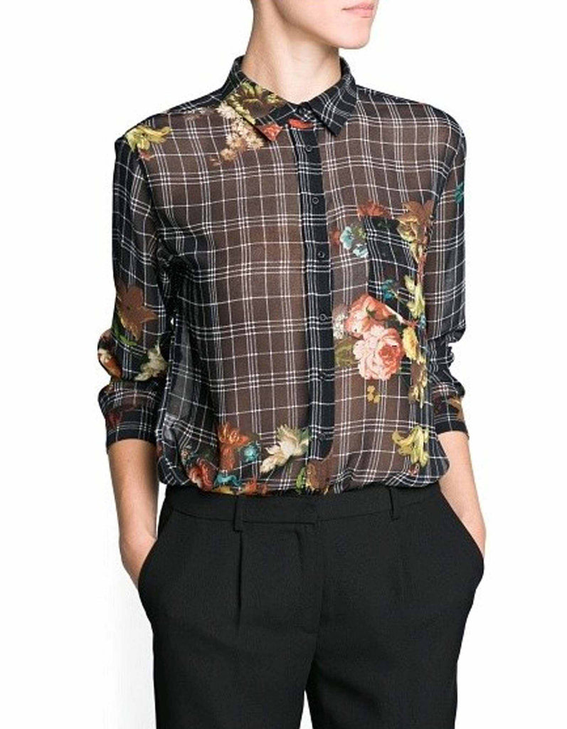 Vintage plaid floral print blouse