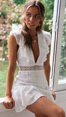 Elegant White Lace Ruffle Deep V-Neck Dress with Band Sleeve Detailed