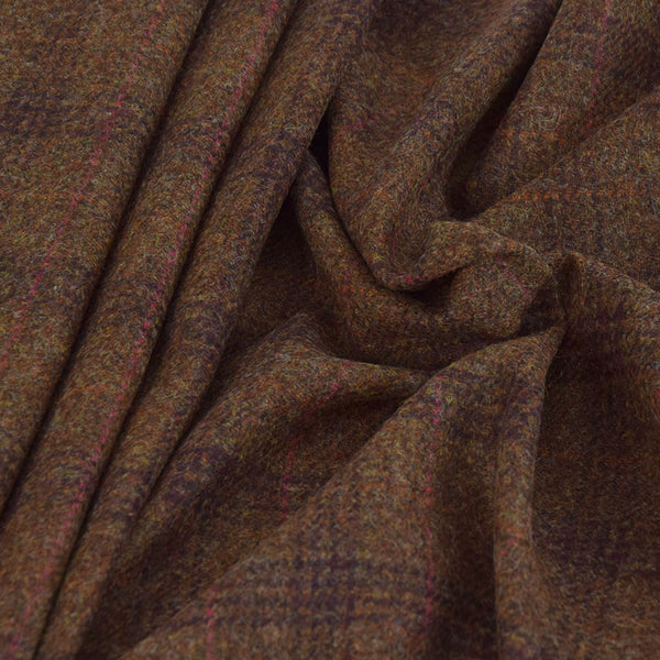 Brown Check Wool 3510 - Fabrics4Fashion