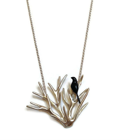 Chee-Me-No Jewelry - Bird in a Branch Necklace