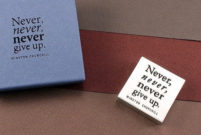 Vilmain Pewter - Never Give Up Paper Weight