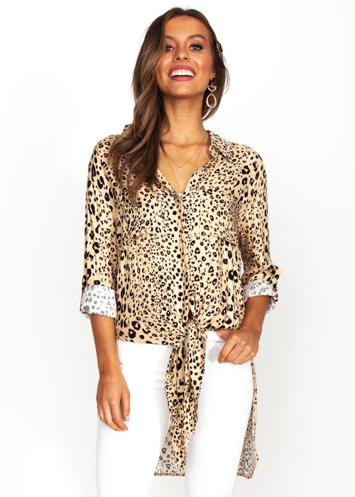 Better For You Shirt - Nude Leopard Print