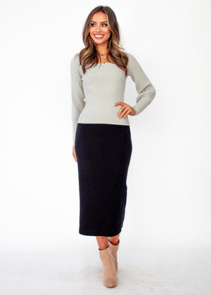 Viktoria Knit Top - Grey