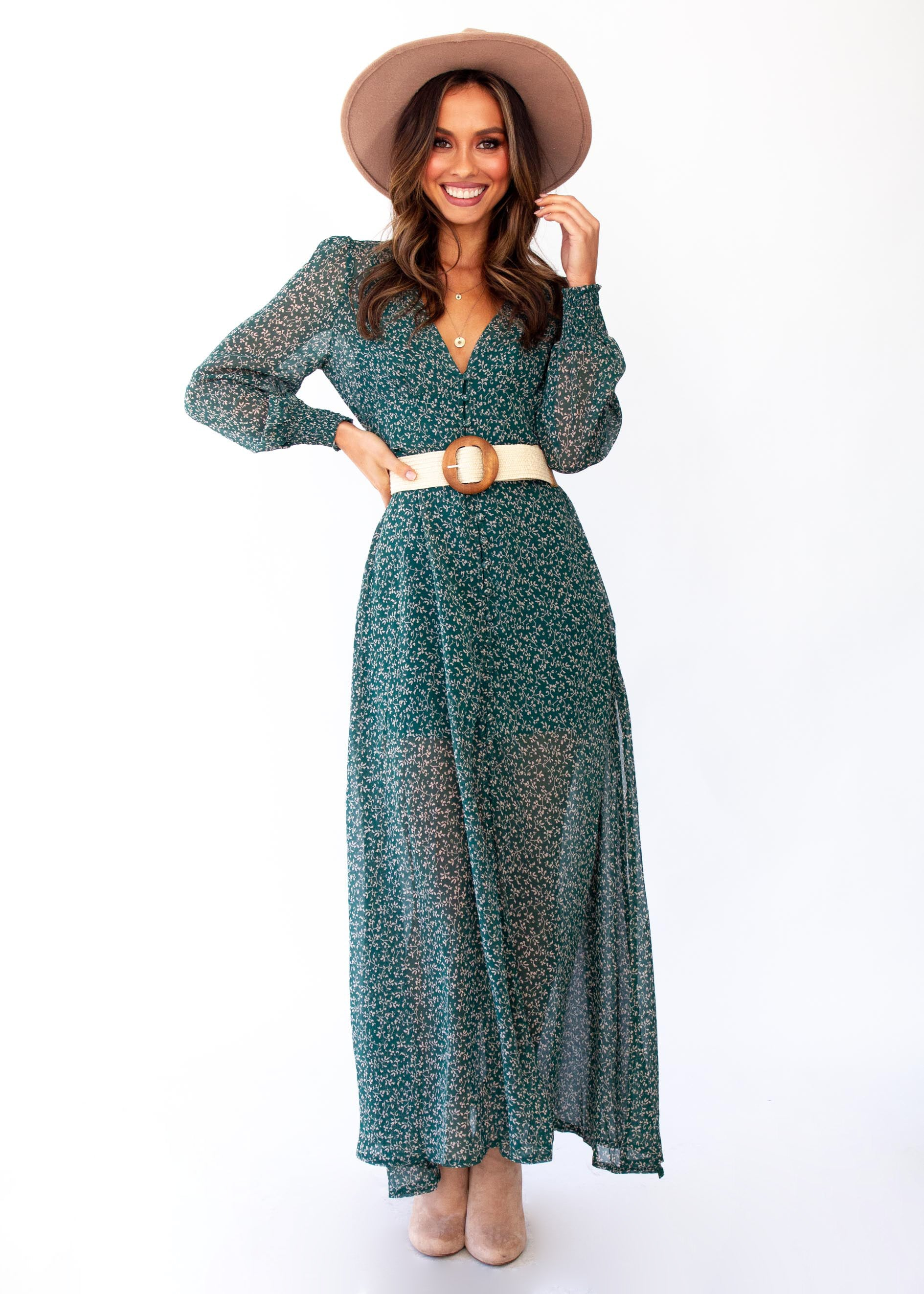 Women's Ceres Maxi Dress w/ Slip - Emerald Floral
