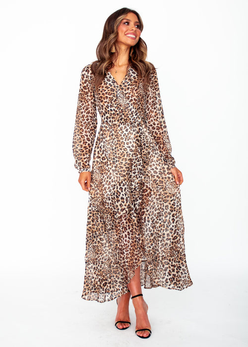 Lady Danger Wrap Maxi Dress - Leopard
