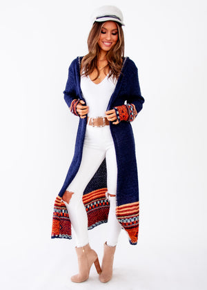 Ivy Hooded Cardigan - Navy - Jaase