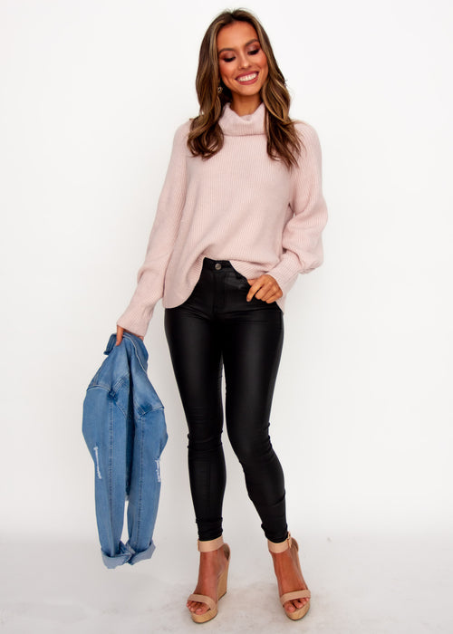 Genesis Roll Neck Sweater - Blush