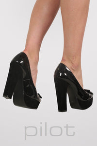 Bow Detail Platform Court Shoes in Black 3