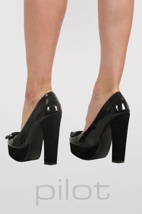 Bow Detail Platform Court Shoes in Black 4