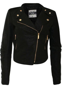 Long Sleeve Leather Look Biker Jacket in Black 2