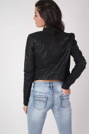 Long Sleeve Leather Look Biker Jacket in Black 4