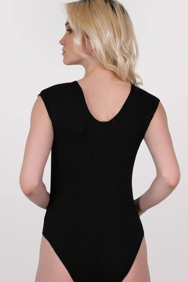 Mesh Panel Bodysuit in Black 4