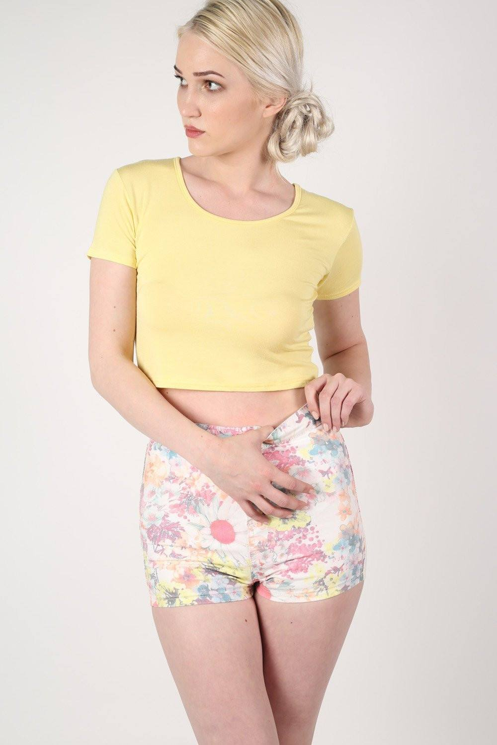 Plain Cap Sleeve Crop Top in Yellow 0
