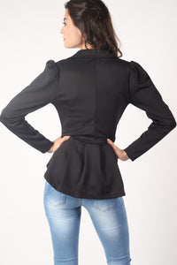 Peplum Blazer Jacket in Black 4