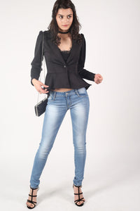 Peplum Blazer Jacket in Black 5