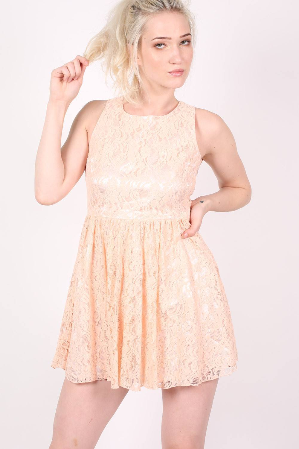 Lace Skater Dress in Pink 0