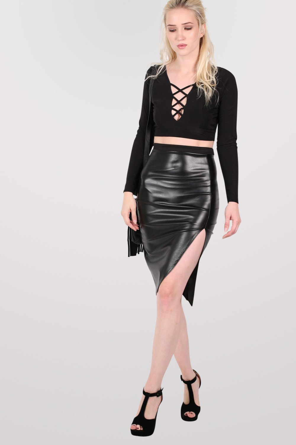 Leather Look Front Split Pencil Skirt in Black 0