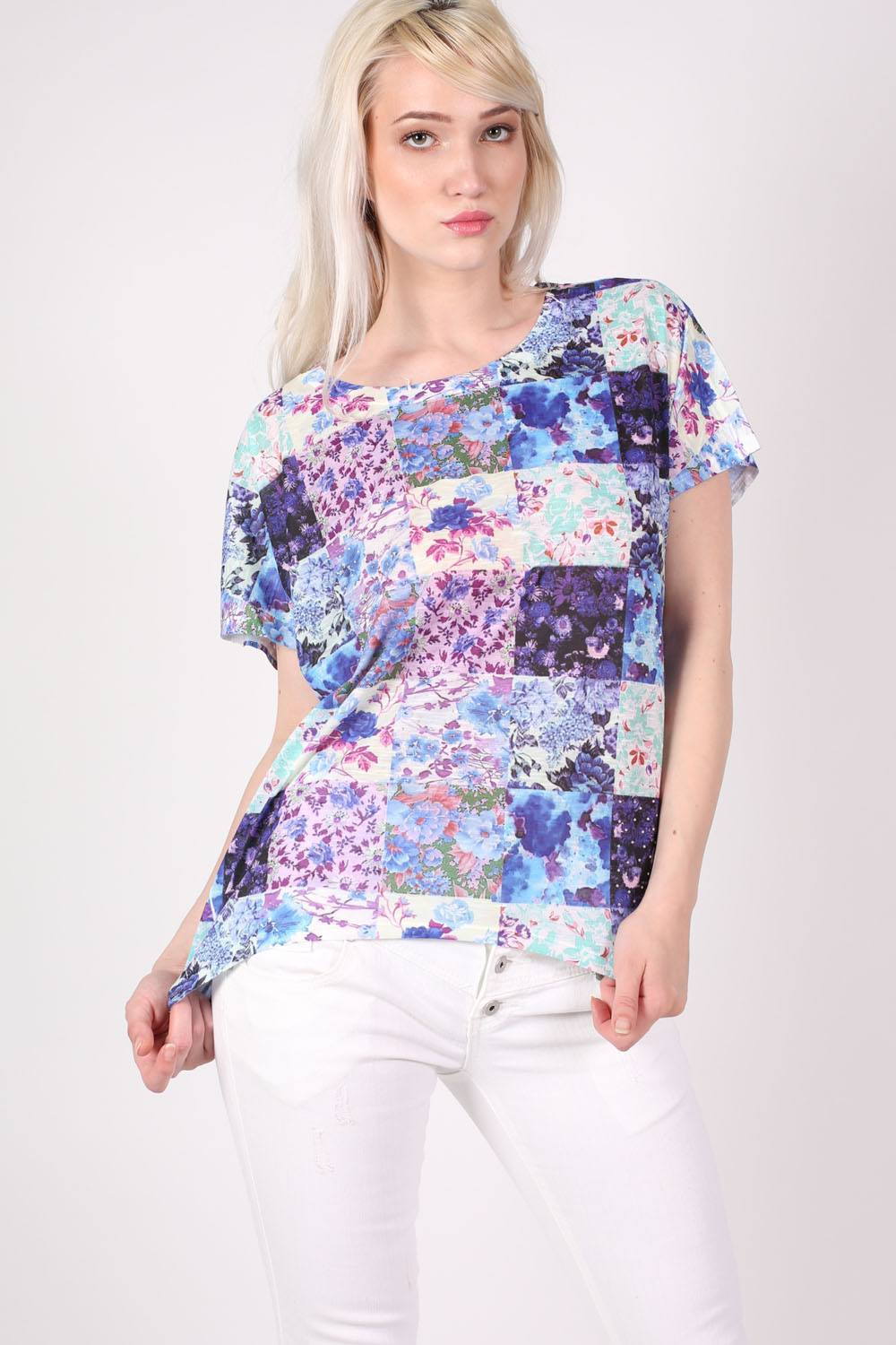 Floral Patchwork Print Diamante Detail Oversized Top in Blue MODEL FRONT