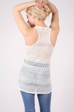 Sleeveless Crochet Top in Cream MODEL BACK