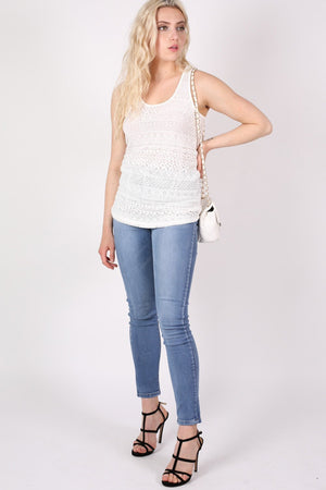 Sleeveless Crochet Top in Cream MODEL FRONT 2