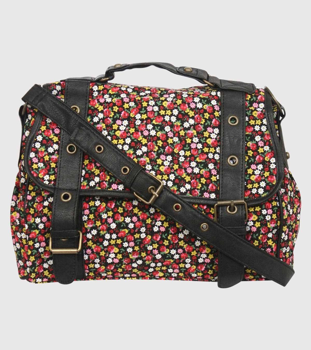 2 Front Buckle Ditsy Flower Satchel in Black FRONT