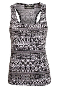 All Over Aztec Print Vest Top in Black & White 2