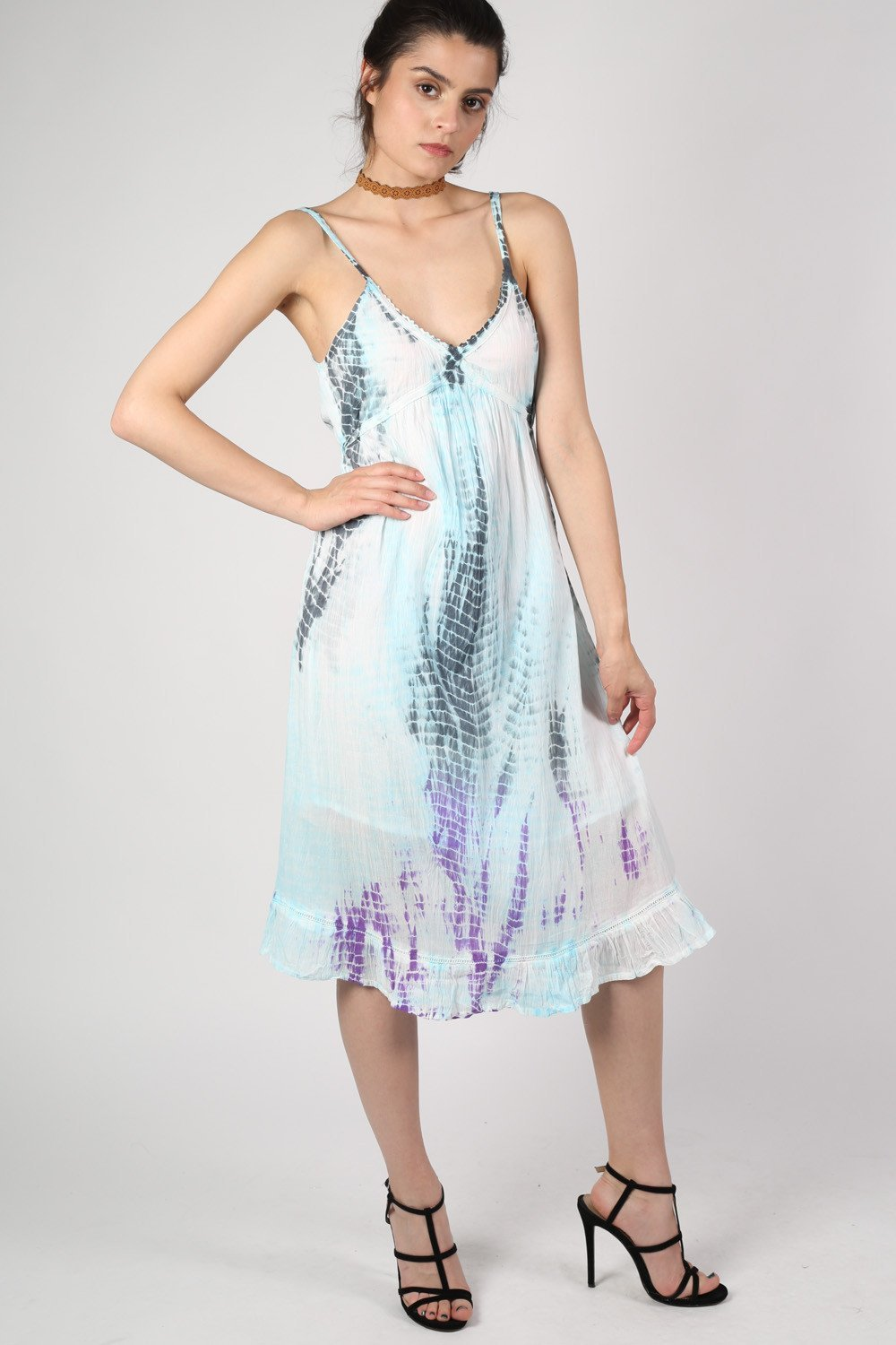 All Over Tie Dye Strappy Dress in Aqua Blue MODEL FRONT